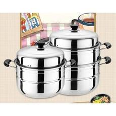 不鏽鋼蒸鍋三層2層蒸籠饅頭火鍋二層加厚湯鍋具煤氣爐電磁爐通用 - 32cm三層