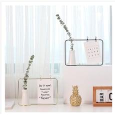 北歐ins鐵藝陶瓷花瓶小擺件 綠植干花家居裝飾留言照片架