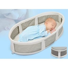 一件免運 嬰兒床床中床 寶寶新生兒便攜式小床 可折疊睡籃 多功能旅行寶寶床上床 - 便攜床+三件套涼