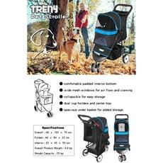 【TRENY直營】TRENY 快速收合 高級寵物推車-藍 附杯架跟置物籃 狗推車 貓推車 外出旅行