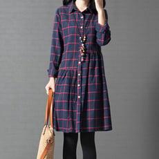 ORead*寬鬆格子純棉襯衫裙洋裝(2色M~2XL)