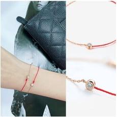 卡蘿珠寶 巴黎紅繩 幸運10分鑽石18k金手鍊