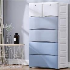 加厚抽屜式收納櫃子塑膠寶寶嬰兒兒童衣櫃儲物櫃多層整理箱五斗櫃ATF 咕嘰咕嘰 - 淺藍色,5層