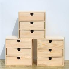 ~實木收納盒桌面木制化妝品收納櫃多層抽屜式辦公室桌上收納儲物盒 - 清漆