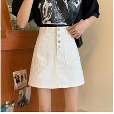 白色半身裙 女 新款 高腰 牛仔A字裙褲  時尚  防走光  包臀短裙子