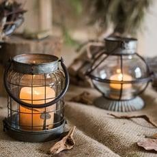 青木居家☆復古鐵藝燭臺風燈小提燈裝飾擺件花器花園雜貨ZAKKA美式 - 復古風燈A