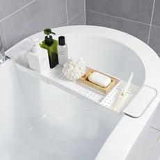 可伸縮瀝水浴缸架 衛生間塑膠泡澡盆置物架浴缸洗澡收納架ATF 咕嘰咕嘰