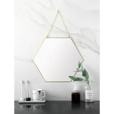 ~北歐極簡幾何造型金色黃銅六邊形鏡子衛浴鏡玄關鏡化妝鏡 - 黃銅六邊形鏡子 小號