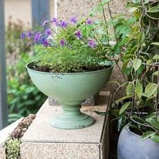 青木居家☆大型鐵藝高腳杯花器花盆 裝飾收納復古Tiffany藍雜貨花園