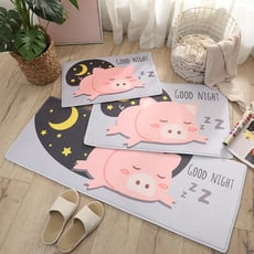 萌系列法蘭絨吸水防滑地墊-中款50x80cm-晚安豬豬