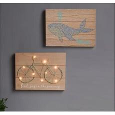夢幻棉線造型LED裝飾木板掛畫-自行車