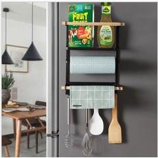4合1磁吸式廚房冰箱收納架洗衣機側邊收納架-黑色