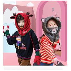 冬季兒童可愛護耳護頸套頭連帽