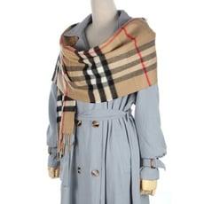 【真品保證】英倫BURBERRY原廠紙盒經典格紋學院風100%喀什米爾羊毛圍巾