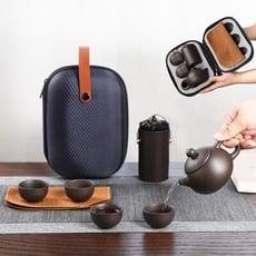 紫砂陶茶壺套裝 贈收納包 旅行茶具 茶壺 隨身茶具 泡茶壺 泡茶杯 旅行茶壺組 露營 露營用品