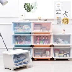 (24H速出貨)日式簡約收納箱 滑輪斜口整理塑料箱  掀蓋式滑輪收納箱 創意雜物防塵箱