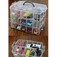 大號 透明色下標處 大三層 收納盒 30格 3層30格 收納盒 彩色橡皮筋 可拆式 手提式 收納箱
