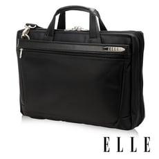 ELLE HOMME 紳士皮革15吋公事包三層(可加大)拉鍊風琴置物款- 黑色 EL74166A