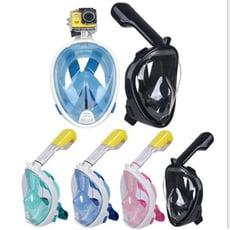 全乾式潛水面罩 可呼吸gopro防霧攝像 潛水鏡浮潛面罩 潛水面罩 潛水裝備 呼吸管浮潛面罩