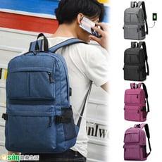 【Osun】男女同款大容量USB充電防潑水電腦包書包旅行後背包(顏色任選,CE286)