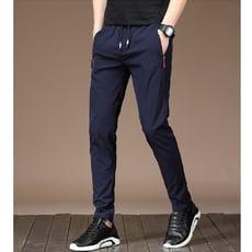 韓版彈力鬆緊帶速乾透氣休閒直筒長褲 L03399