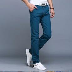 L03378BK黑色/B湖藍色韓版休閒純棉直筒長褲
