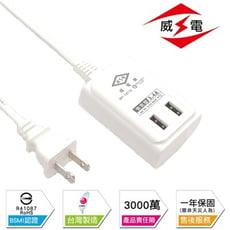 《台灣製造》【雙USB-(6尺)】出國延長線 延長線 電腦延長線 耐熱防火 過載保護