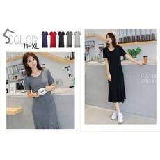 【ABC小中大尺碼服飾】寬鬆顯瘦短袖魚尾拼接連身裙5色 M-XL