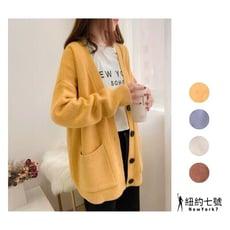 【ABC小中大尺碼服飾】寬鬆素色柔軟針織毛衣外套