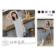 【ABC小中大尺碼服飾】簡約顯瘦素色V領短袖連身裙5色 M-2XL