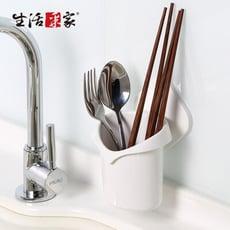 【生活采家】廚房強力無痕貼純白置物筒架#57006