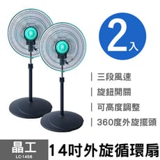 兩入組【晶工】14吋外旋循環風扇 (綠) LC-1456