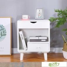 亭森北歐實木床頭柜簡約現代個性多功能翻蓋梳妝台儲物柜歐式整裝平價屋