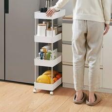推車置物架 廚房置物架落地多層帶滑輪冰箱夾縫隙收納柜蔬菜架子可移動小推車 - b款3層高655x長4