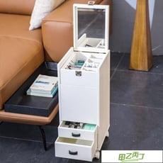 移動化妝桌 梳妝台收納柜一體迷你多功能抖音移動化妝柜翻蓋飄窗化妝台平價屋 - 整裝,白色