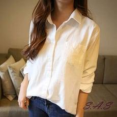 SAS 基本款襯衫 韓純白襯衫 簡約百搭女襯衫 休閒襯衫寬鬆襯衫【135】