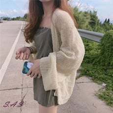 SAS 韓新款慵懶寬鬆薄款長袖針織衫 百搭顯瘦喇叭袖寬鬆開衫【890C】