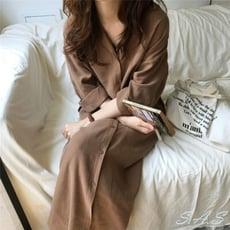 SAS 浪漫純色翻領襯衫 連身裙 綁帶收腰長款風衣外套【567F】