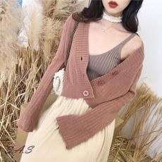 SAS 韓國同步 純色慵懶寬幅袖針織外套 女短版外搭針織開衫 888C