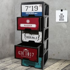 HOUSE-工業風鐵板畫五層櫃-DIY組裝【005067-02】