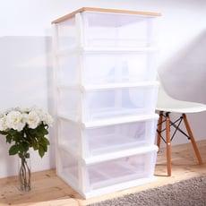 HOUSE-晴空透明超大150公升五層櫃(木天板)-DIY組裝【005063-01】