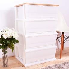 HOUSE-時光白色超大120公升四層櫃(木天板)-DIY組裝【005058-01】
