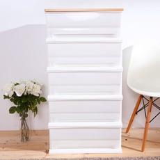 HOUSE-時光白色超大150公升五層櫃(木天板)-DIY組裝【005059-01】