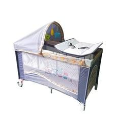 豪華遊戲床 加長遊戲床 多功能 嬰兒床 雙層床 可折疊 附尿布台 蚊帳