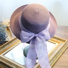 草帽遮陽帽蝴蝶結沙灘帽-優雅氣質時尚捲邊生日情人節禮物女帽子6色73eq2【米蘭精品】