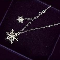 【米蘭精品】925純銀項鍊 鑲鑽吊墜-雪花造型精緻唯美百搭女配件73y82