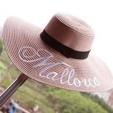 草帽遮陽帽字母沙灘帽-時尚刺繡大簷防曬情人節生日禮物女帽子6色73eq60【米蘭精品】