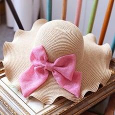 草帽遮陽帽蝴蝶結沙灘帽-浪漫波浪邊渡假時尚生日情人節禮物女帽子2色73eq44【米蘭精品】