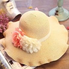 草帽遮陽帽花朵沙灘帽-波浪大簷優雅氣質情人節生日禮物女帽子2色73eq18【米蘭精品】