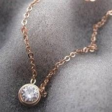 【米蘭精品】玫瑰金純銀項鍊鑲鑽吊墜時尚流行生日情人節禮物女飾品3色71x1